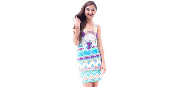 Dámske upnuté šaty s aztéckou potlačou Mr. GUGU & Ms. GO