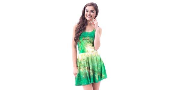 Dámske zelené galaktické šaty so skladanou sukňou Mr. GUGU & Ms. GO