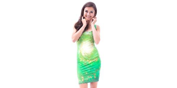 Dámske zelené galaktické šaty Mr. GUGU & Ms. GO