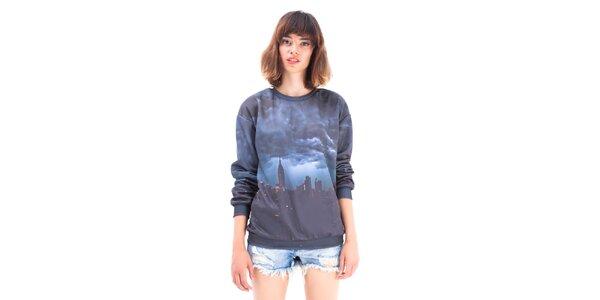 Dámsky šedý sveter s potlačou NYC Mr. GUGU & Ms. GO