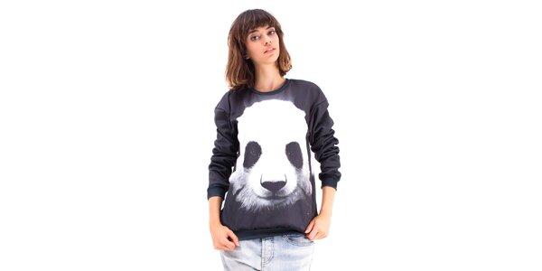 Dámsky čierny sveter s pandou Mr. GUGU & Ms. GO