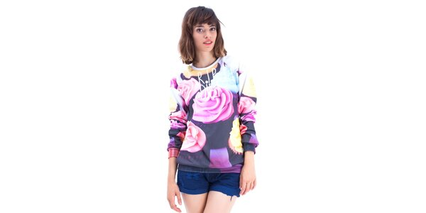 Dámsky farebný sveter s ružami Mr. GUGU & Ms. GO