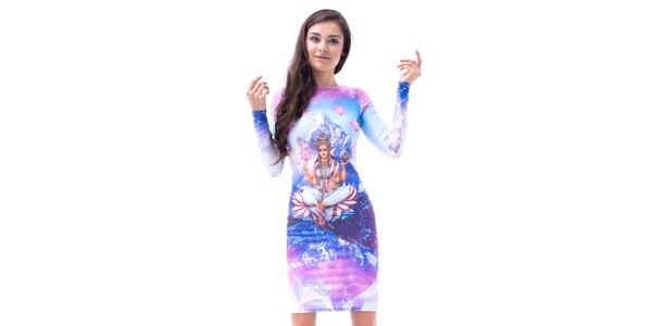 Dámske upnuté šaty s dlhým rukávom a potlačou Mr. GUGU & Ms. GO