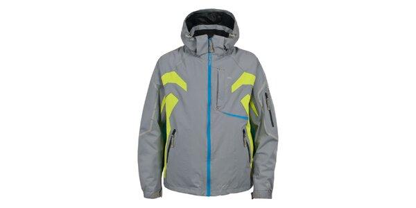 Pánska šedá lyžiarska bunda s farebnými detailmi Trespass