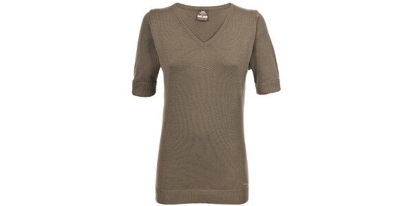 Dámsky hnedý svetrík s krátkymi rukávmi Trespass