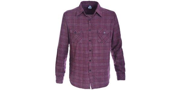Pánska fialovo kockovaná flanelová košeľa Trespass