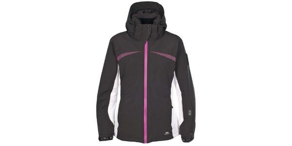 Dámska čierna lyžiarska bunda s ružovými detailmi Trespass