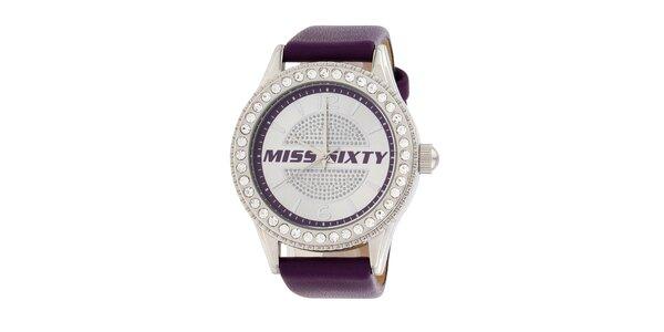 Dámske fialové analógové hodinky Miss Sixty s kamienkami