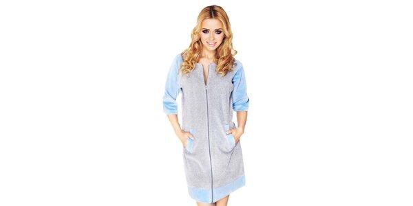 Dámske šedé domáce šaty s modrými prvkami Wanmar