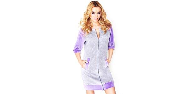 Dámske šedé domáce šaty s fialovými prvkami Wanmar