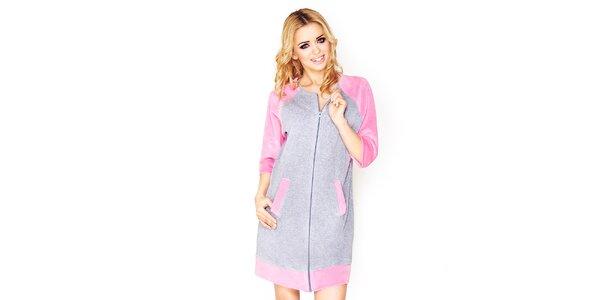 Dámske šedé domáce šaty s ružovými prvkami Wanmar
