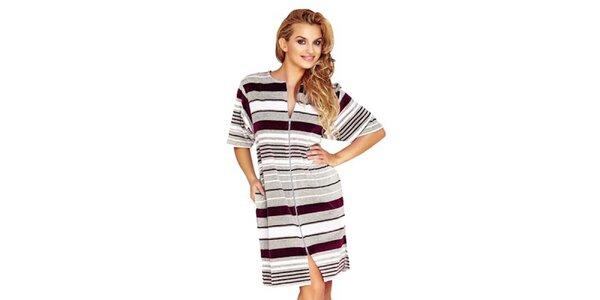 Dámske domáce šaty s bordó prúžkami Wanmar