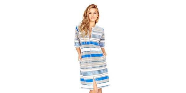 Dámske domáce šaty s modrými prúžkami Wanmar