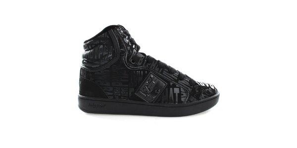 Dámske čierne vysoké topánky Baby Phat s nápismi