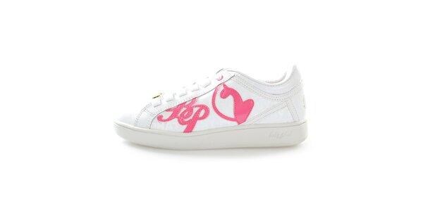 Dámske biele tenisky s ružovým nápisom Baby Phat