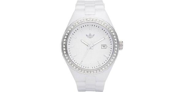 Dámske biele analógové hodinky s kamienkami Adidas