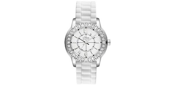 Dámske hodinky s kamienkami a bielym remienkom s.Oliver