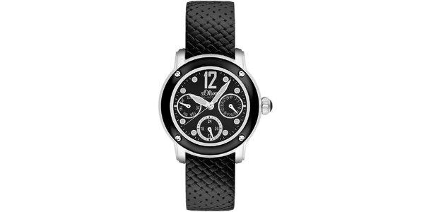 Dámske čierne hodinky s multifunkčným ciferníkom s.Oliver