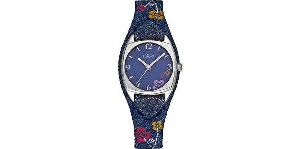Dámske modré hodinky s kvetinovým vzorom s.Oliver