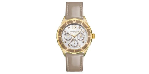 Dámske hodinky s chronografom a béžovým remienkom s.Oliver