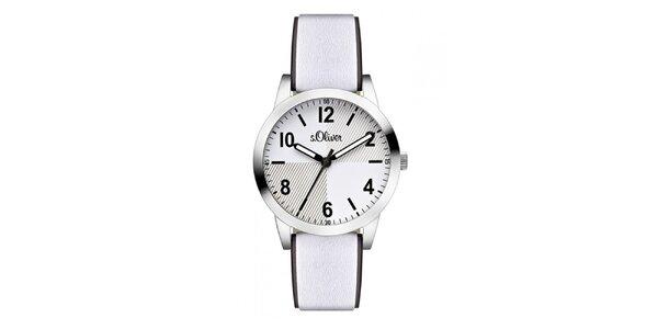 Dámske svetlé analógové hodinky s koženým remienkom s.Oliver