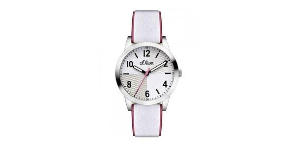 Dámske svetlé analógové hodinky s farebnou sekundovkou s.Oliver