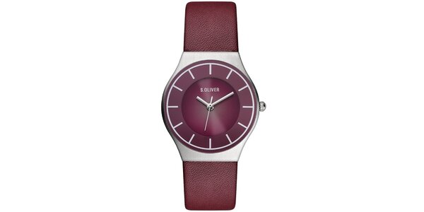 Dámske vínové analógové hodinky s.Oliver