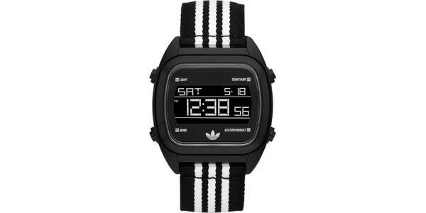 Digitálne hodinky s čierno-bielym remienkom Adidas