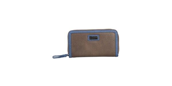 Dámska hnedá podlhovastá peňaženka s modrým lemom Benetton