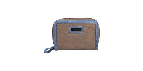 Dámska hnedá peňaženka s modrým lemom Benetton