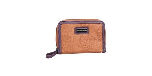 Dámska karamelová peňaženka s fialovým lemom Benetton