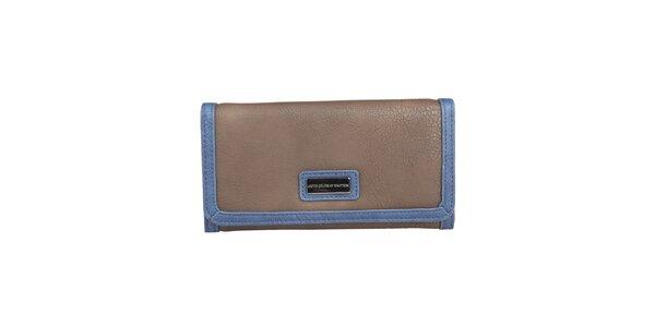 Dámska hnedá peňaženka s lemom Benetton na patentku