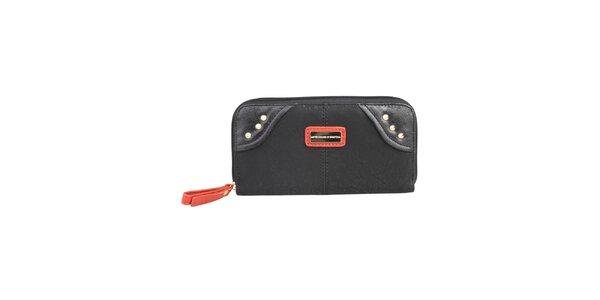 Dámska čierna peňaženka s oranžovými detailmi Benetton