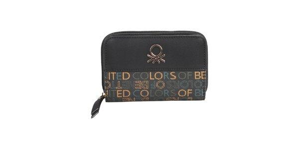 Dámska čierna peňaženka s farebnými nápismi Benetton