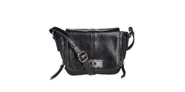 Dámska čierna kabelka s klopou Sisley