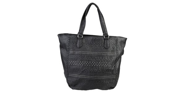 Dámska čierna kabelka s cvočkami Sisley