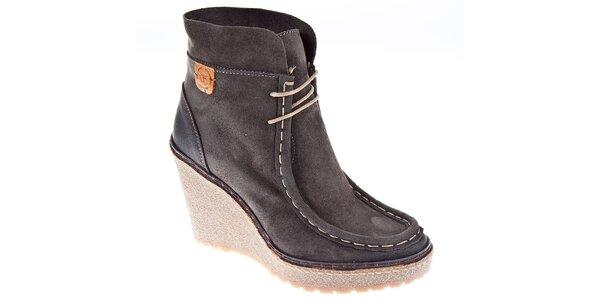 Dámske tmavo šedé kotníčkové topánky Napapijri na vysokom podpätku