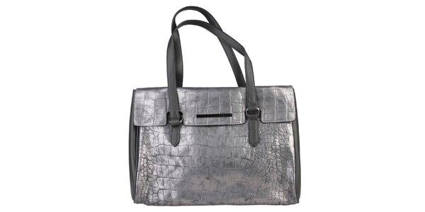 Dámska podlhovastá strieborná kabelka Sisley