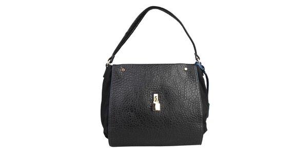 Dámska čierna kabelka s modrou visačkou Benetton