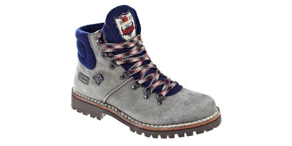 Pánske šedo-modré kotníčkové topánky Napapijri