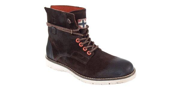 Pánske tmavo hnedé kotníčkové topánky Napapijri