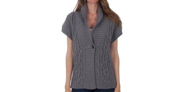 26b8654dedf3 Dámsky šedý sveter s krátkymi rukávmi Tommy Hilfiger