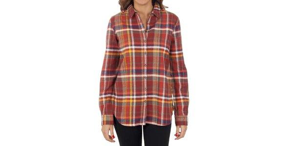 Dámska kockovaná tehlovo červená košeľa Tommy Hilfiger