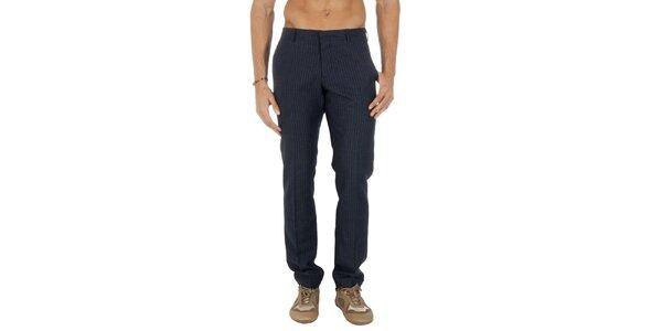 Pánske pruhované tmavomodré nohavice Tommy Hilfiger