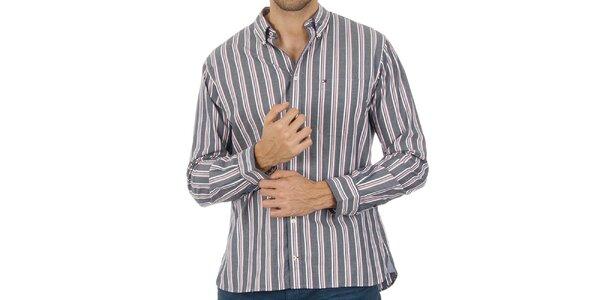 Pánska pruhovaná šedá košeľa Tommy Hilfiger