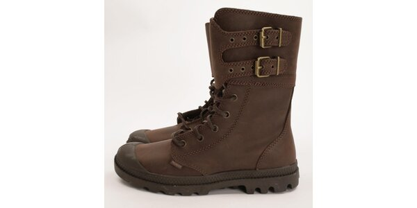 Dámske tmavo hnedé pevné topánky Palladium