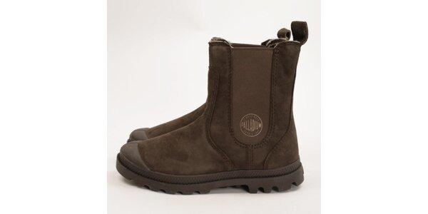 Dámske tmavo hnedé chelsea topánky Palladium