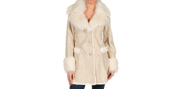 Dámsky béžový kabátik s kožušinou Guess