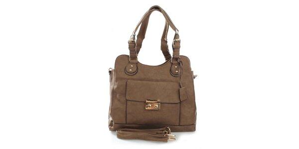 Dámska béžová kabelka s odnímateľným popruhom London Fashion