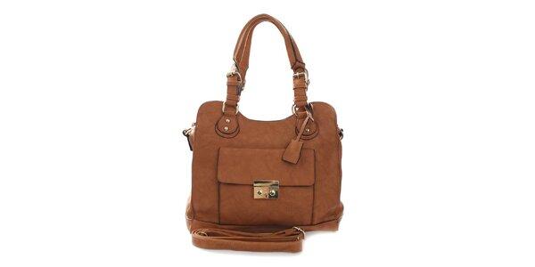 Dámska hnedá kabelka s odnímateľným popruhom London Fashion